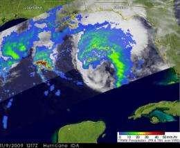 NASA satellites make a movie and get rainfall, wind info on Ida