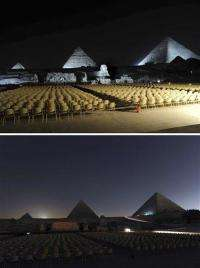 Antarctica to Pyramids _ lights dim for Earth Hour (AP)