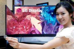 A promoter shows LCD television panels which use an edge-lit light emitting diode (LED) backlight system
