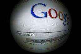A shot of the search engine Google's home page, seen here in France