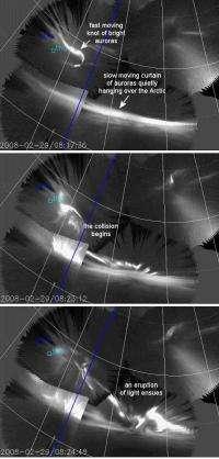 Colliding auroras produce an explosion of light