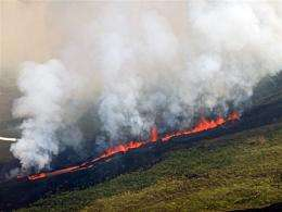Eruption of the La Cumbre volcano in Fernandina island