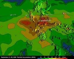 NASA 3-D map shows flooding rains of Typhoon Ketsana in Philippines