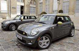 New electric Mini E cars manufactured by German automaker BMW are presented