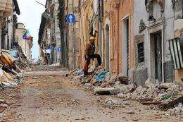 Quake-destroyed buildings
