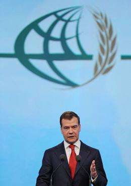 Russian President Dmitry Medvedev speaks during the World Grain Forum