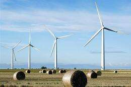 The first onshore wind farm to be built in the southeast of England is pictured in 2008