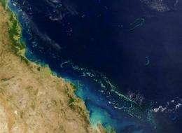 The Great Barrier Reef off Australia's eastern coast