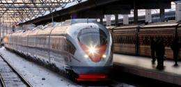 The high speed train named Sapsan moves along the tracks at a station in Saint-Petersburg