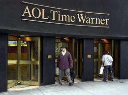 This 2001 photo shows the AOL Time Warner corporate logo on the former Time Warner Building in New York