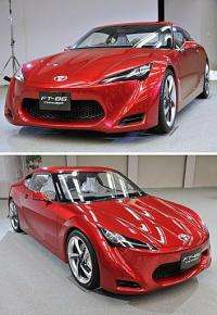 "This combo photo shows two views as Japanese auto giant Toyota Motor unveils the ""FT-86 Concept"""