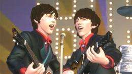 This image courtesy of MTV and Harmonix Music Systems shows a clip from The Beatles Rock Band videogame