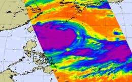 Typhoon Morakot's cloud top extent doubled in size in 1 day