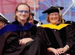 U2 frontman and activist Bono and Elizabeth Blackburn in 2004