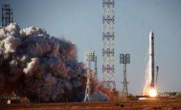 A Zenit 3F rocket carrying the Spektr-R radio astronomy observatory blasts off from Baikonur cosmodrome on Thursday