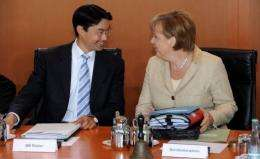 German Chancellor Angela Merkel speaks with Economy Minister Philipp Roesler before Monday's cabinet meeting