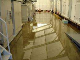 Radioactive water is seen on the floor inside a water treatment facility at the Daiichi nuclear plant
