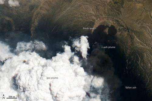 Satellite looks down the eye of erupting nabro volcano