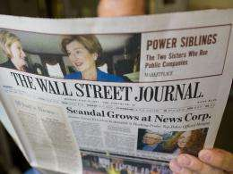 The Wall Street Journal is viewed on July 18, in Washington