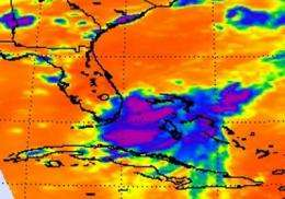 NASA satellites saw Tropical Depression Emily struggle over the weekend