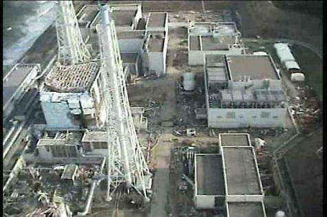 An aerial view of the first reactor building of TEPCO's No.1 Fukushima nuclear power plant