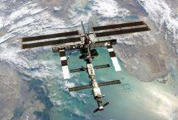 A view of the International Space Station flying over the North Caspian Sea