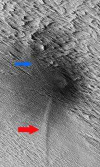 Meteorite shockwaves trigger dust avalanches on Mars