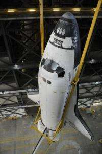US space shuttle Atlantis on May 18, is lifted in the Vehicle Assembly Building