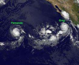 NASA satellite data confirms Greg a hurricane, Fernanda a tropical storm
