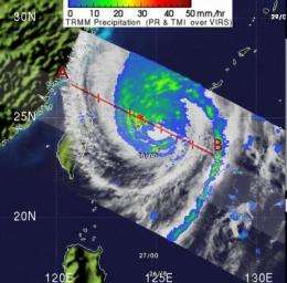 2 NASA satellites see Typhoon Songda weaken and move past Japan