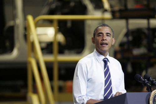 US President Barack Obama speaks to a group of auto workers in Toledo, Ohio, in June