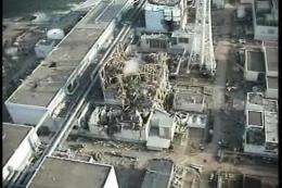 An aerial view of TEPCO's No.1 Fukushima nuclear power plant at Okuma