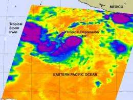 NASA's Aqua satellite sees birth of two tropical cyclones in Eastern Pacific