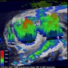 NASA sees heavy rainfall in Typhoon Roke