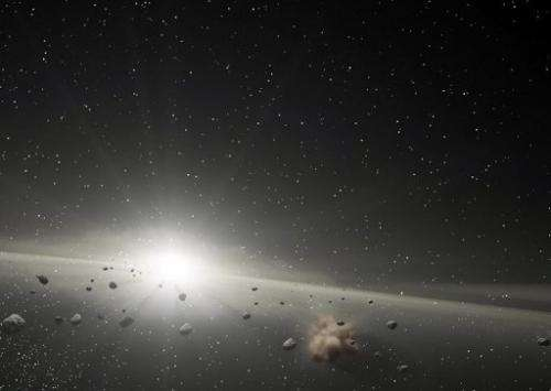 This NASA image shows an artist's impression of an asteroid belt in orbit around a star