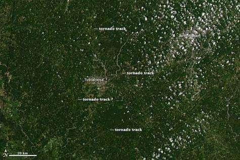 NASA satellite sees tornado tracks in Tuscaloosa, Alabama
