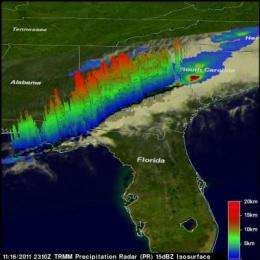 NASA's TRMM satellite sees deadly tornadic thunderstorms in Southeastern US