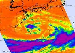 Tropical Storm Roke closing in on Kadena Air Base: Infrared NASA satellite imagery