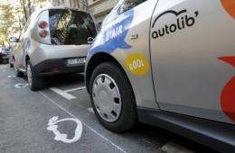 A Bluecar is pictured in Paris, on the first day of a test session of the Autolib electric car pick-up service