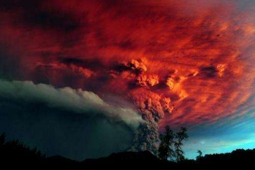 A cloud of ash billows from the Puyehue volcano near Osorno on June 5