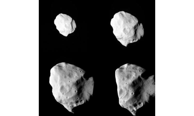 A combo shows a sequence of images of the Lutetia asteroid at various distances