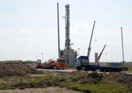 A drilling rig exploring for shale gas in Poland