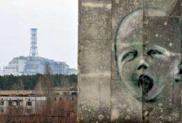 A graffiti is pictured on a wall in the ghost city of Pripyat near the former Chernobyl Nuclear power plant (background)