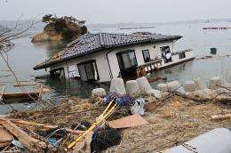 A house lies in the sea off a village near the Onagawa nuclear power plant in Japan