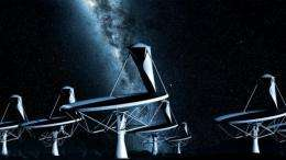 An artist impression's of the dishes of the future SKA radio telescope by night