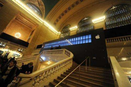 An exterior view of the new Apple Store location under construction in Grand Central Terminal