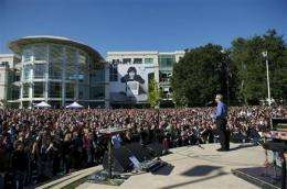 Apple posts video of Jobs memorial on Apple.com (AP)