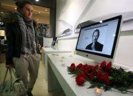 Apple's website on Monday featured video of a music-laced tribute to Steve Jobs held last week at their headquarters