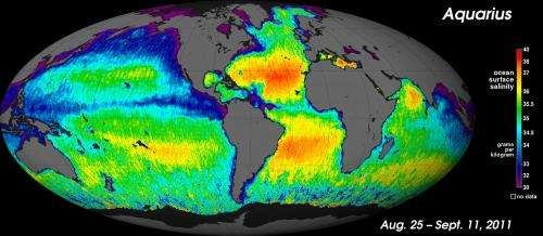 Aquarius yields NASA'S first global map of ocean salinity
