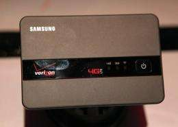 A Samsung 4G LTE mobile hotspot is displayed by Verizon